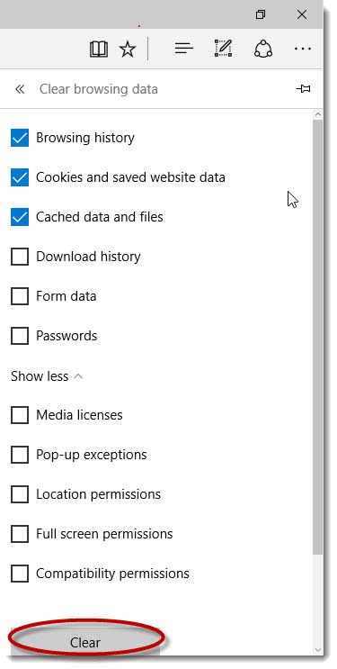 Clearing cookies in Microsoft Edge | Times Shamrock Events